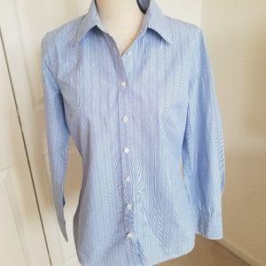 J. Crew Blue & White Stripe Button Down Shirt